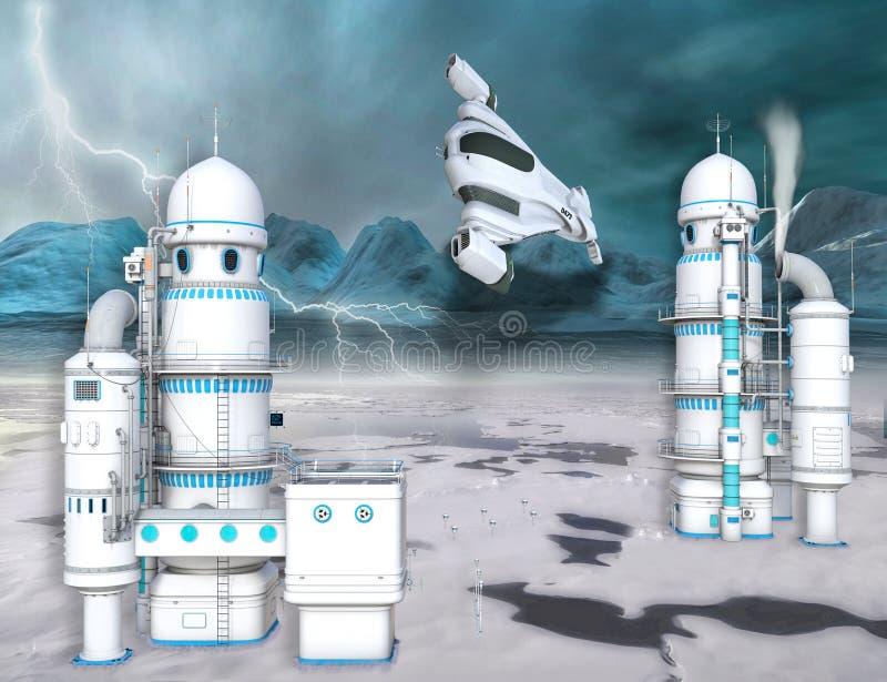 ejemplo 3D de una estación de hielo ártica futurista ilustración del vector