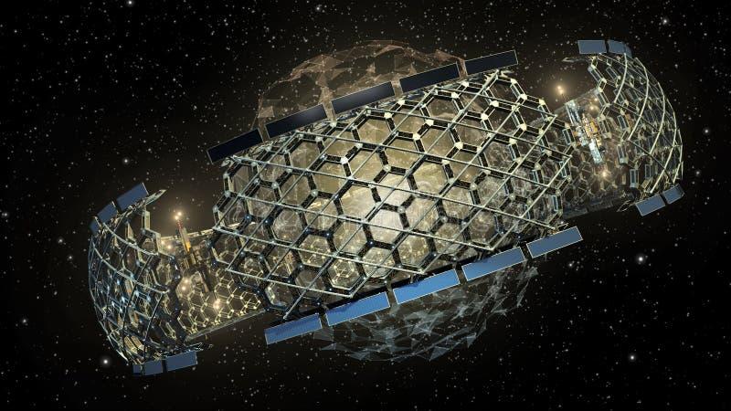 ejemplo 3D de una estructura de panal del espacio exterior stock de ilustración