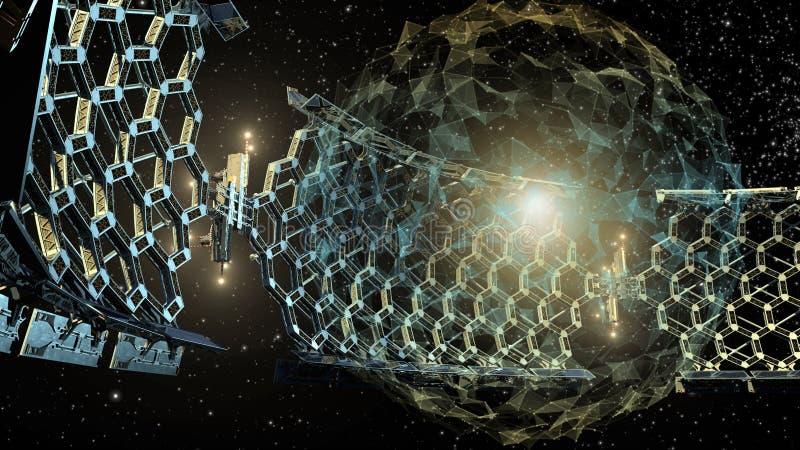 ejemplo 3D de una estructura de panal del espacio exterior ilustración del vector