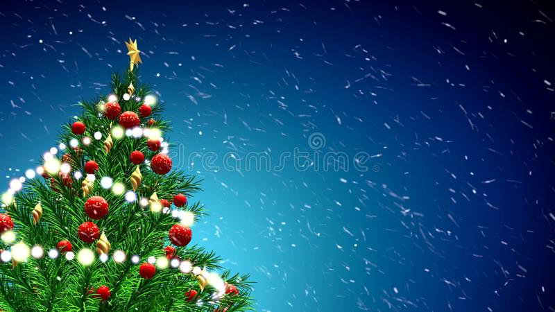 ejemplo 3d del árbol de navidad verde sobre fondo azul con los copos de nieve y las bolas rojas ilustración del vector