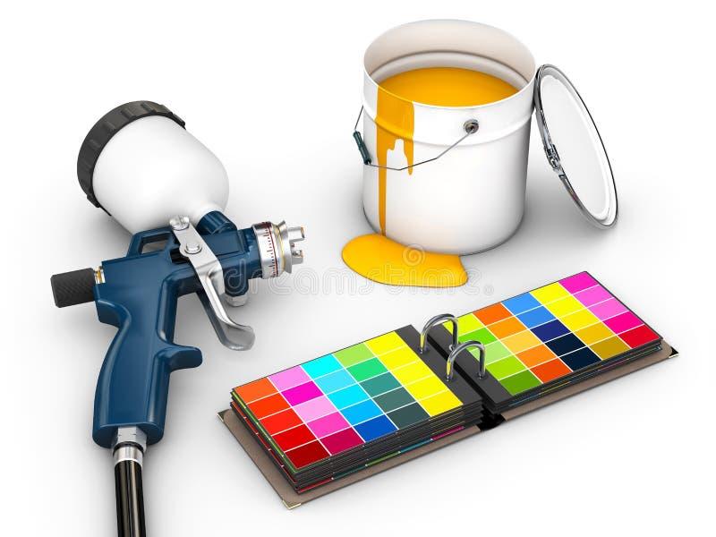 ejemplo 3d del arma de espray con la paleta de colores aislada en blanco ilustración del vector