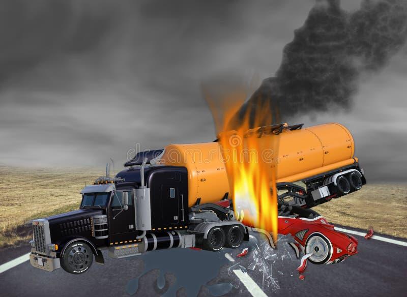 ejemplo 3D del camión del tractor remolque y del coche exótico en accidente ilustración del vector