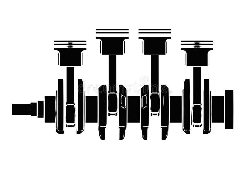 ejemplo 3d del cigüeñal con los pistones del motor stock de ilustración