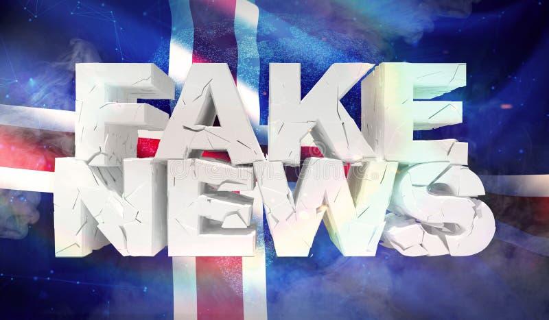 ejemplo 3D del concepto falso de las noticias con la bandera del fondo de Islandia ilustración del vector