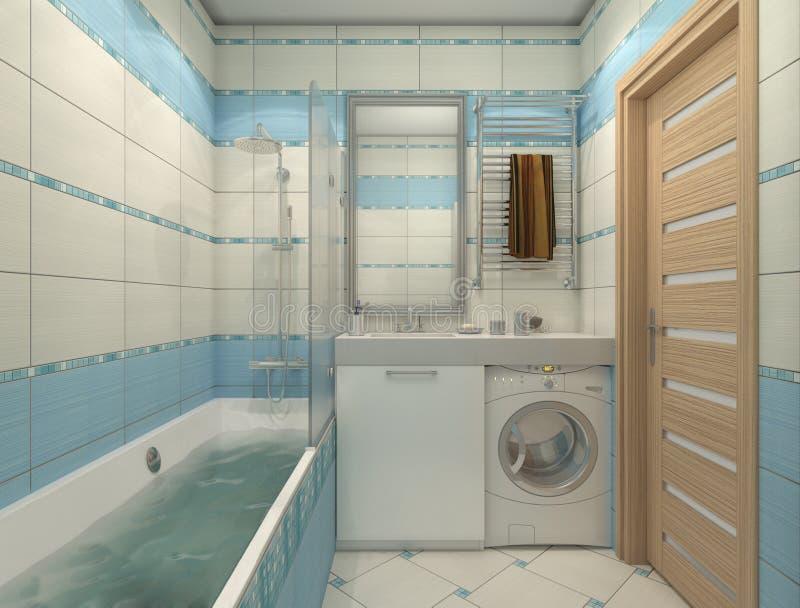 Ejemplo 3D Del Diseño De Un Cuarto De Baño En Color Azul ...