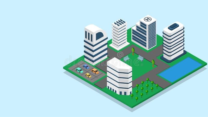 ejemplo 3D del edificio del rascacielos con el aparcamiento para el concepto de Smart City stock de ilustración