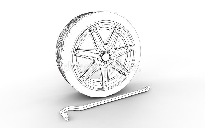 ejemplo 3d del equipo apropiado del neumático stock de ilustración
