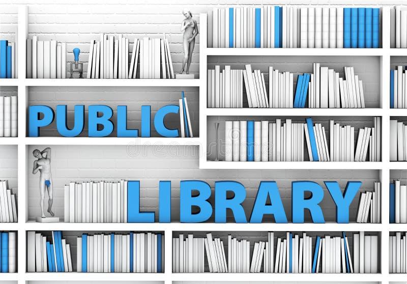 ejemplo 3d del estante de la biblioteca, fondo stock de ilustración