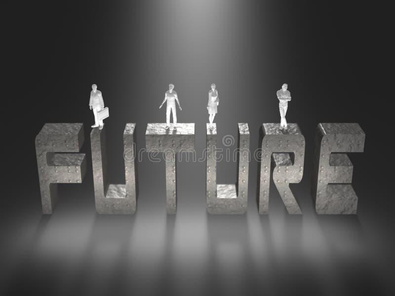 ejemplo 3D del futuro de la humanidad stock de ilustración