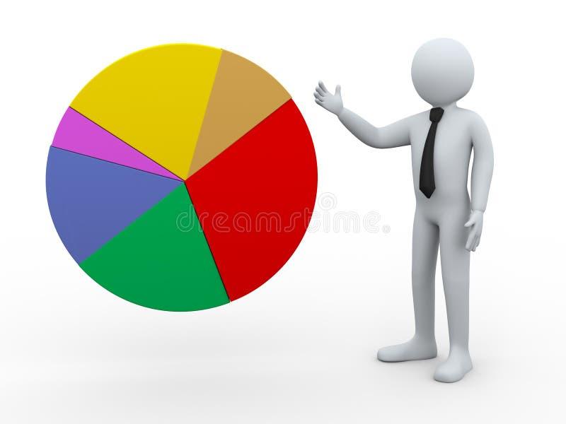hombre de negocios 3d que presenta el gráfico de sectores ilustración del vector