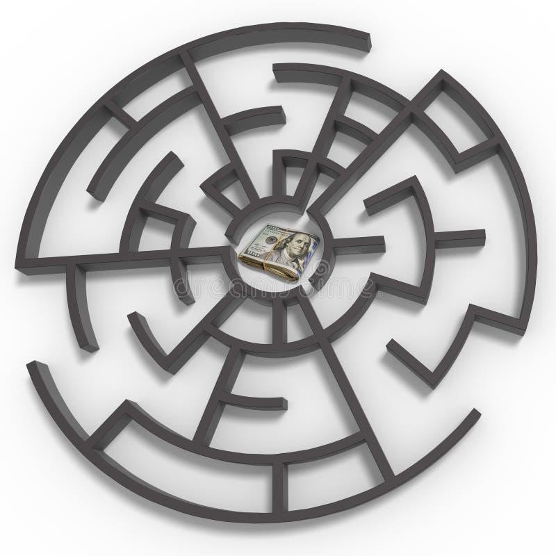 ejemplo 3D del laberinto con el paquete de 100 dólares de dinero libre illustration