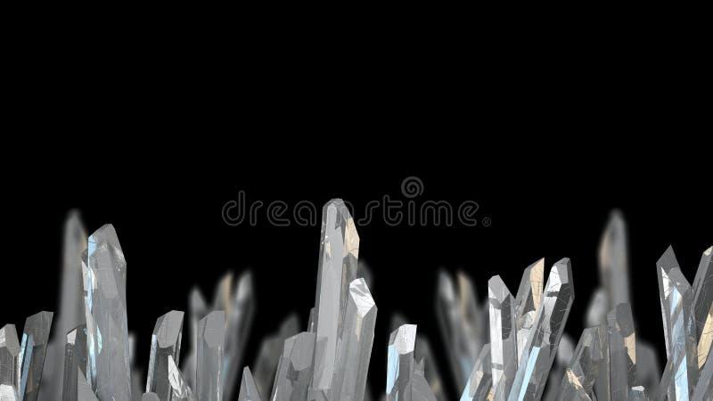 ejemplo 3D del mineral macro de piedra cristalino Cristales de cuarzo en fondo negro fotos de archivo libres de regalías