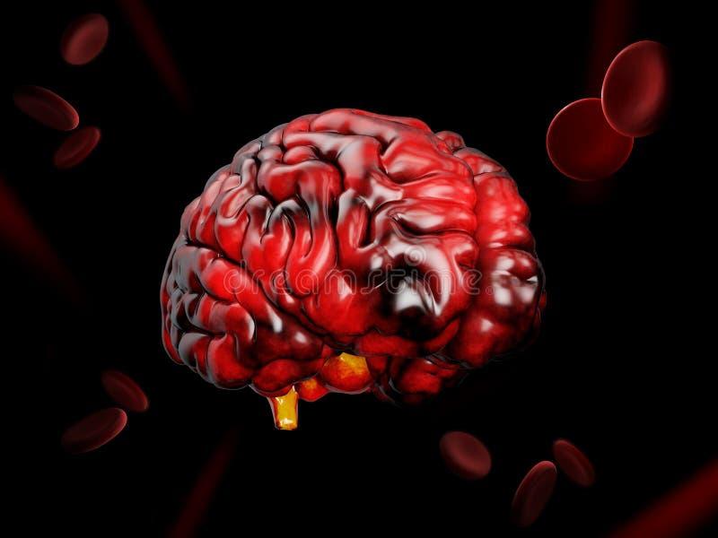 ejemplo 3d del modelo del cerebro humano en fondo negro libre illustration