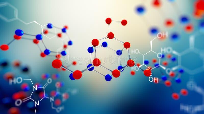 ejemplo 3d del modelo de la molécula Fondo de la ciencia con las moléculas y los átomos ilustración del vector