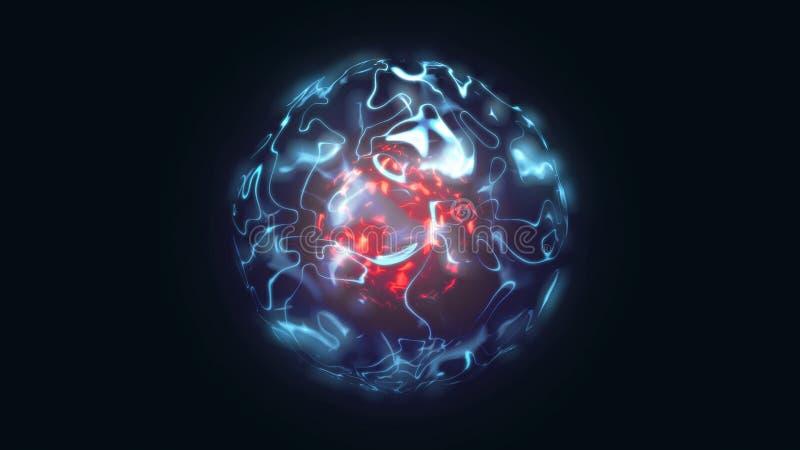 ejemplo 3d del orbe mágico rojo y azul abstracto ilustración del vector