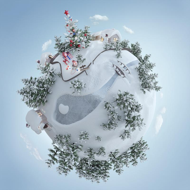 ejemplo 3d del planeta de la Navidad con el árbol de navidad y de regalos de Navidad cerca del camino escarchado libre illustration