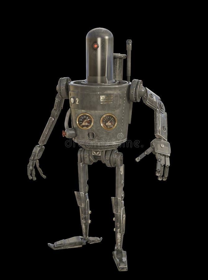 : ejemplo 3D del robot mecánico accionado vapor ilustración del vector