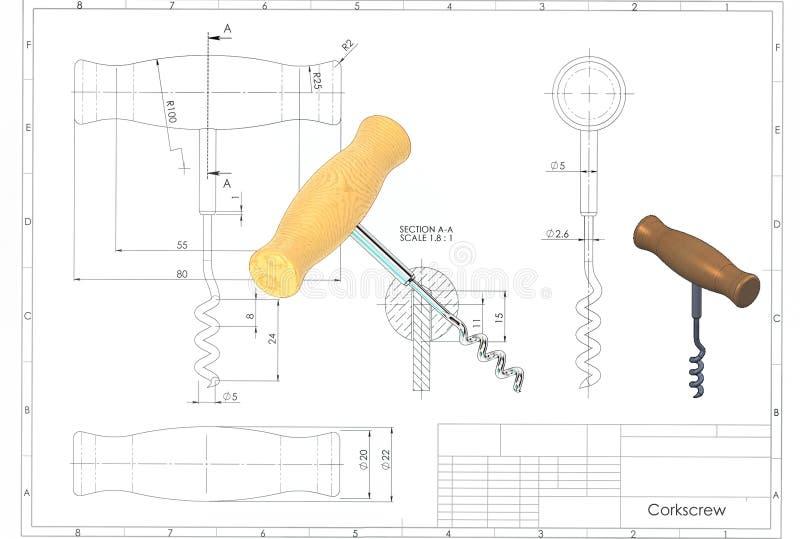 ejemplo 3d del sacacorchos stock de ilustración