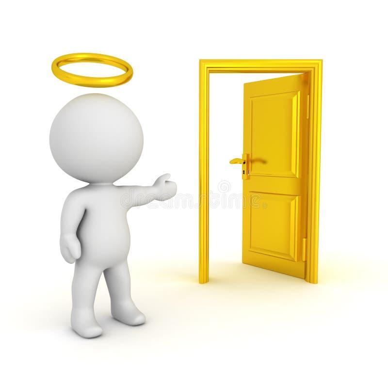 ejemplo 3D del santo con un halo que muestra una puerta abierta stock de ilustración