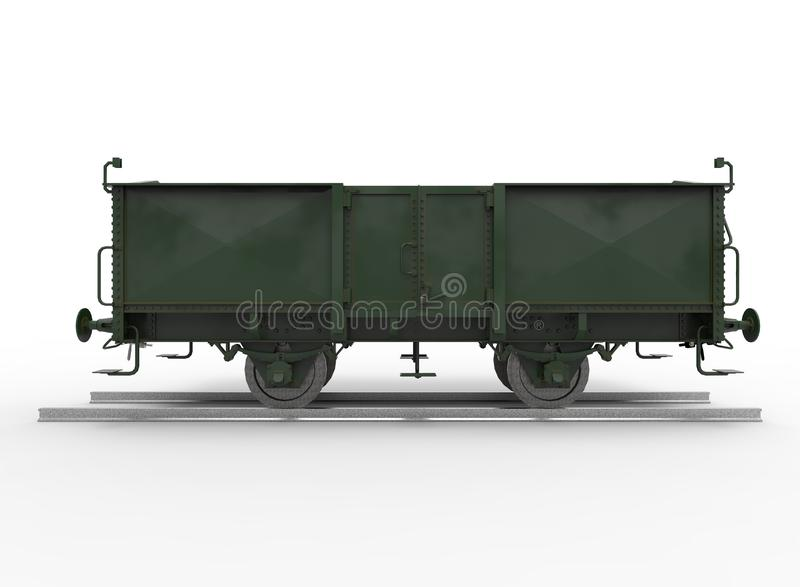 ejemplo 3d del tren de carromatos stock de ilustración