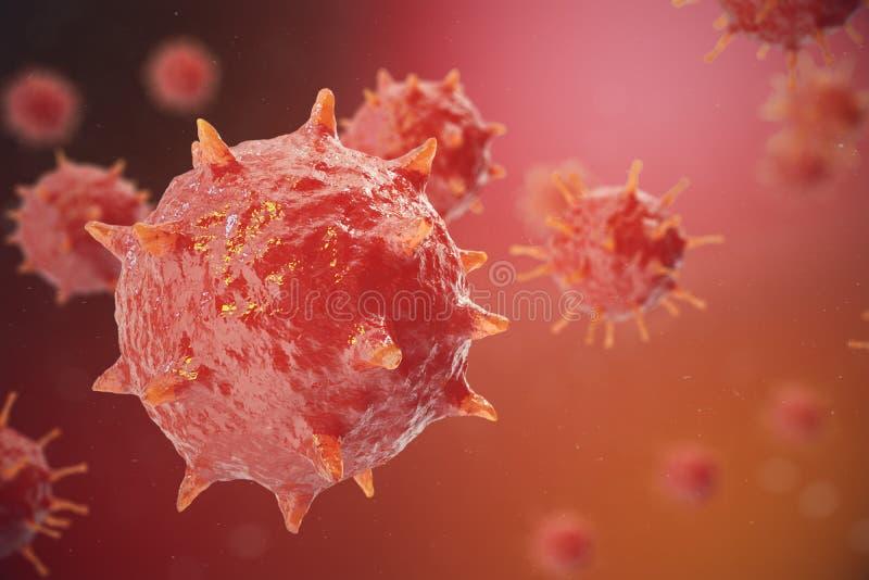 ejemplo 3D del virus de gripe H1N1 La gripe de cerdos, infecta el organismo, epidemia viral de la enfermedad libre illustration