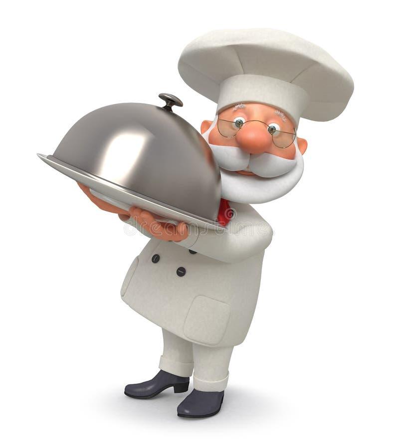 ejemplo 3d el cocinero con un plato stock de ilustración