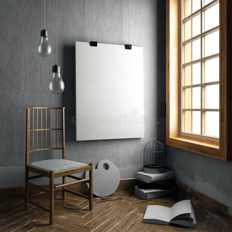 ejemplo 3d, interior con el marco de la silla ilustración del vector