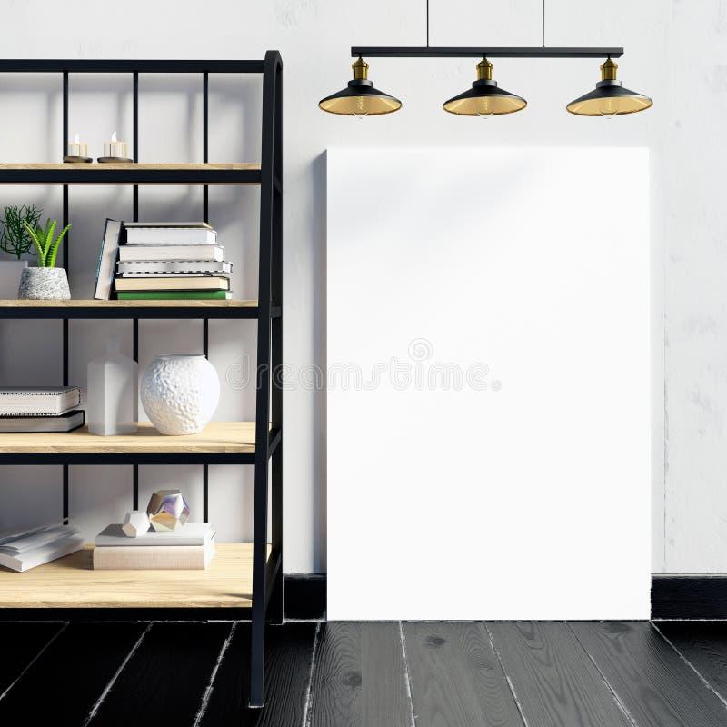 ejemplo 3d, interior moderno con el estante, cartel y lámpara Posición stock de ilustración
