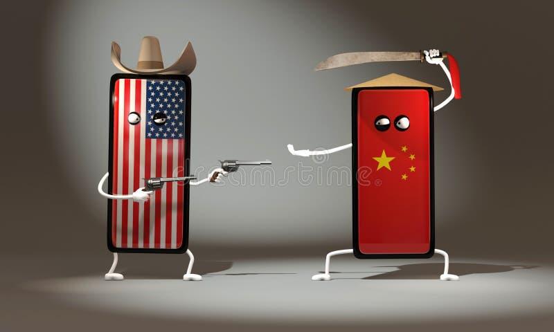 ejemplo 3d la lucha entre los tel?fonos de los E.E.U.U. y China Vaquero Revolvers contra Espada tradicional stock de ilustración