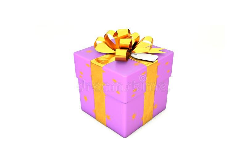 ejemplo 3d: Purpúreo claro - caja de regalo violeta con la estrella, la cinta de oro del metal/el arco y la etiqueta en un fondo  ilustración del vector