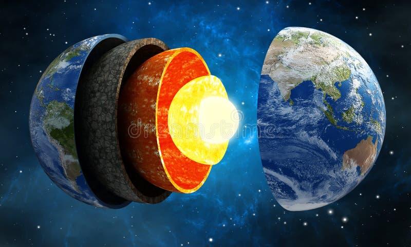 ejemplo 3D que muestra las capas de la tierra en espacio libre illustration