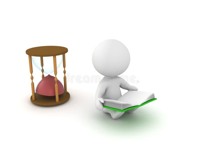 ejemplo 3D que representa cómo el tiempo vuela cuando usted lee a buena BO stock de ilustración