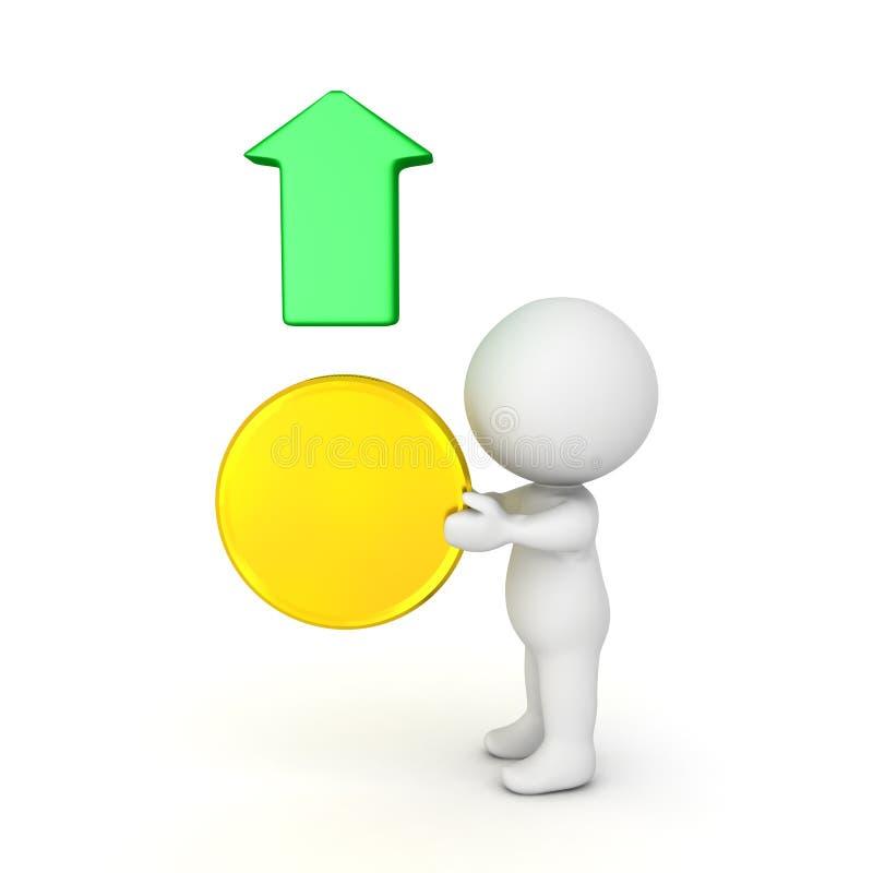 ejemplo 3D que representa el crecimiento en el valor del oro stock de ilustración