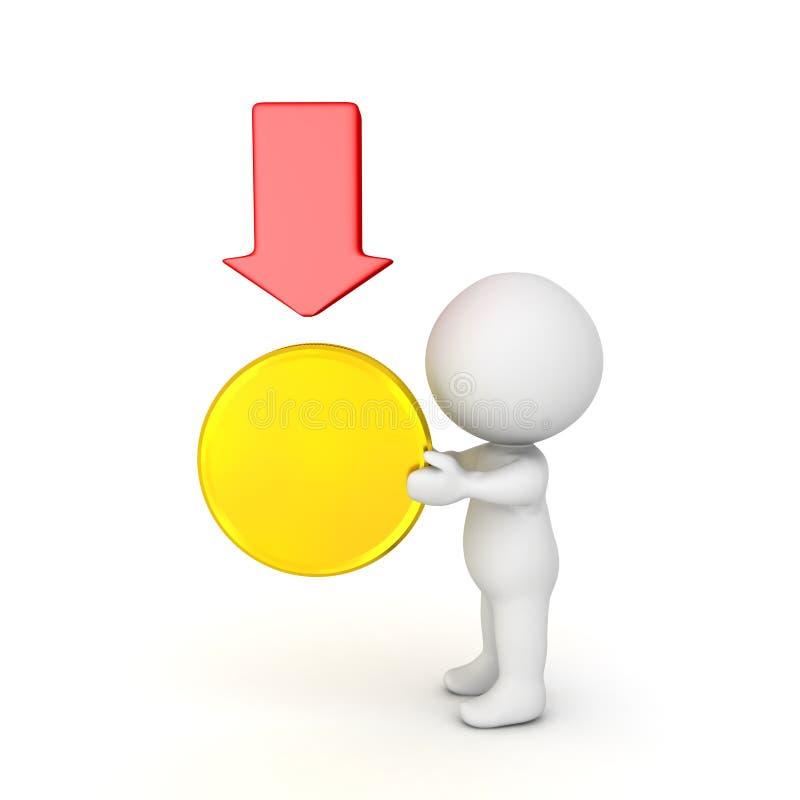 ejemplo 3D que representa la depreciación en el valor del oro ilustración del vector