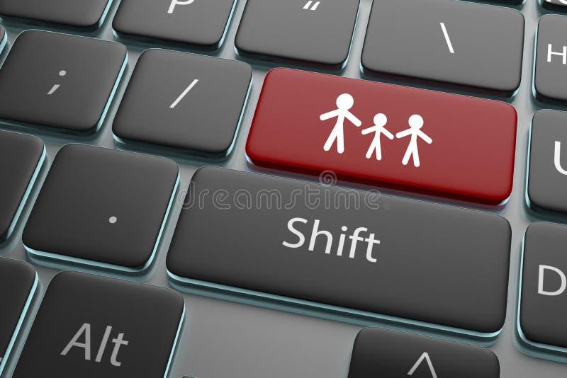 ejemplo 3d una gente del botón en fondo del teclado ilustración del vector