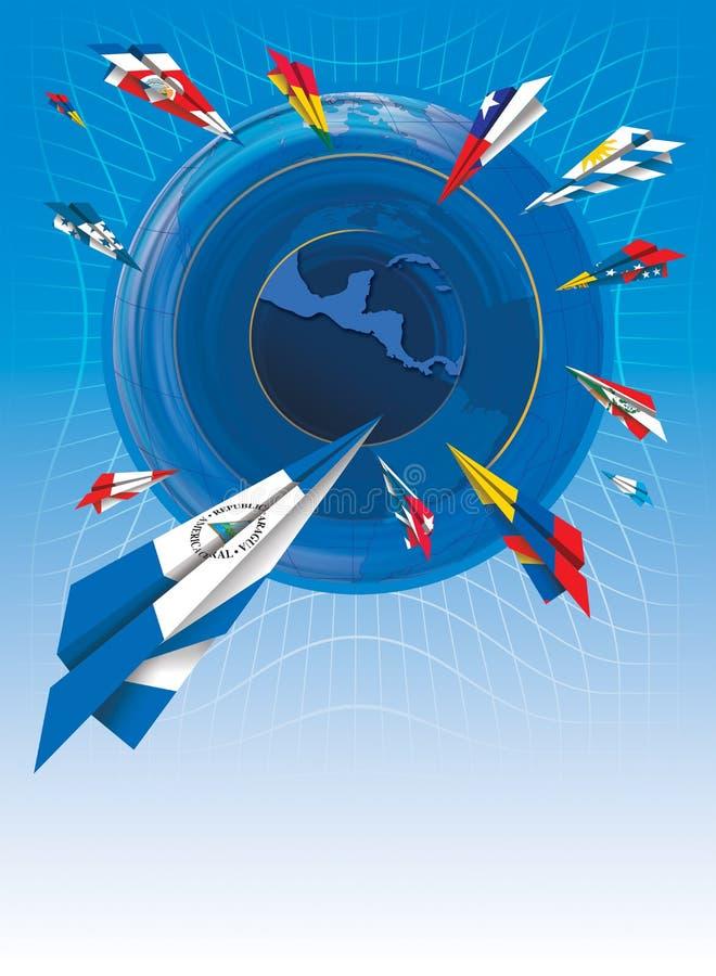 Ejemplo de aeroplanos de papel pintados con las banderas de diversos países latinoamericanos que vuelan hacia el mapa de America  libre illustration