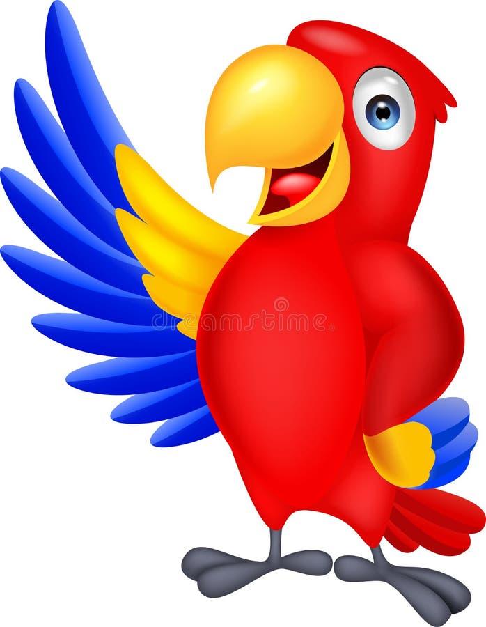 El agitar de la historieta del pájaro del Macaw stock de ilustración