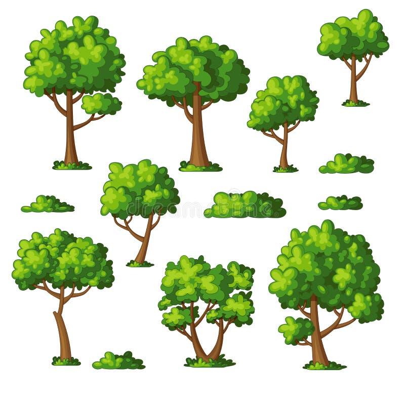 Ejemplo de algunos árboles y arbustos ilustración del vector