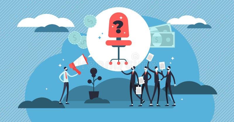 Ejemplo de alquiler del vector Las mini personas aprietan con el CV para el reclutamiento del trabajo stock de ilustración