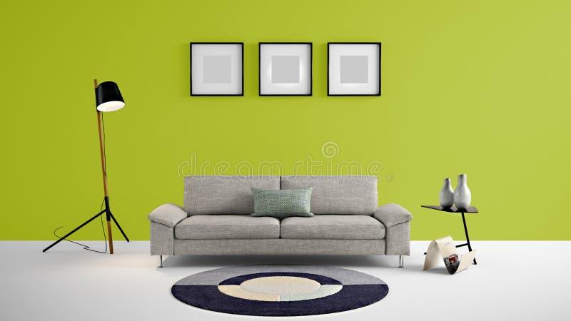 Ejemplo de alta resolución de la sala de estar 3d con la pared del color verde del loro y muebles del diseñador stock de ilustración