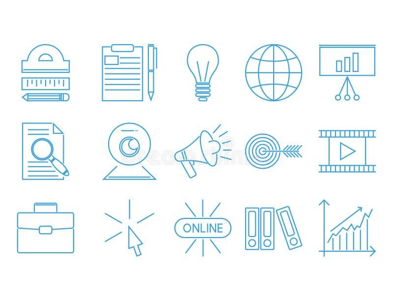 Ejemplo de aprendizaje distante del vector del conocimiento del esquema de los iconos de la educación del personal de la librería libre illustration