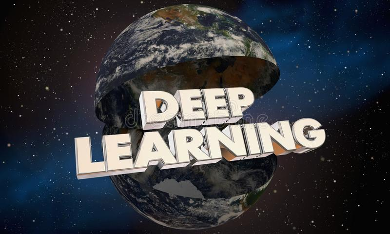 Ejemplo de aprendizaje profundo de la palabra 3d del mundo de la tierra del planeta stock de ilustración