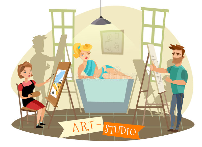 Ejemplo de Art Studio Creative Process Cartoon ilustración del vector