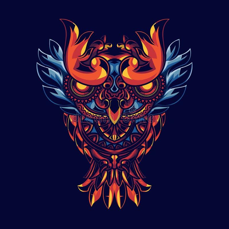 Ejemplo de búhos con los ornamentos de la mandala Con geometría sagrada del fondo Tiene una combinación de oro y de luces azules libre illustration