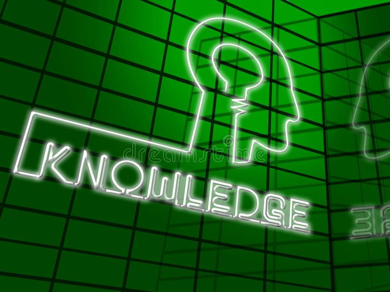 Ejemplo de Brain Showing Know How 3d del conocimiento ilustración del vector