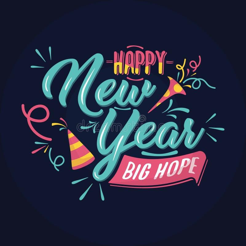 Ejemplo de Bstract de la tarjeta de felicitación de la Feliz Año Nuevo del vintage o del fondo colorido libre illustration