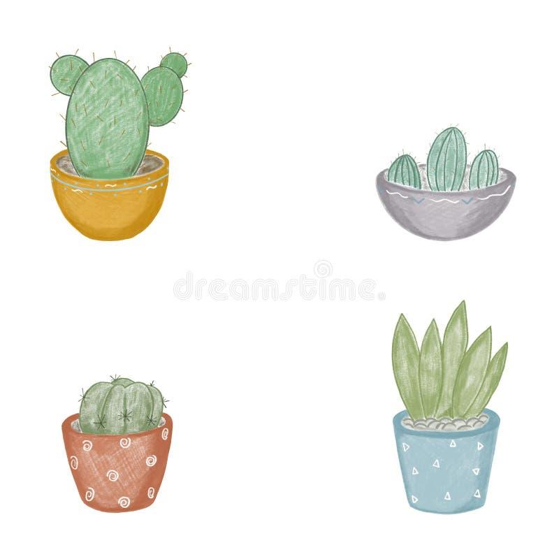 Ejemplo de cactus en los potes de cuatro diversos tipos adentro color en un fondo blanco stock de ilustración