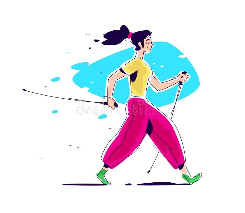 Ejemplo de caminar escandinavo de la muchacha El vector plano El caminar en naturaleza El ejemplo se aísla en un blanco stock de ilustración