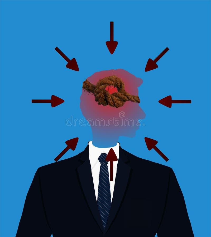 Ejemplo de cara mayor del gráfico de color del perfil del ejecutivo de operaciones para un concepto del dolor de cabeza y de la t stock de ilustración