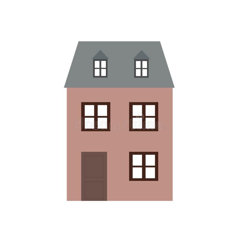 Ejemplo de cara mayor de la arquitectura de la historieta de la construcci?n de viviendas del mundo moderno de la ciudad de la op libre illustration